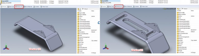 Sample SOLIDWORKS part, two versions