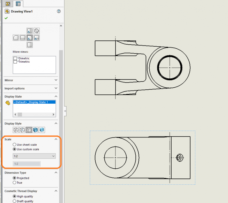 SOLIDWORKS Drawing View Scale