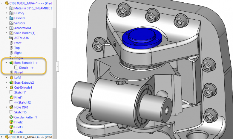 SOLIDWORKS In-context relations