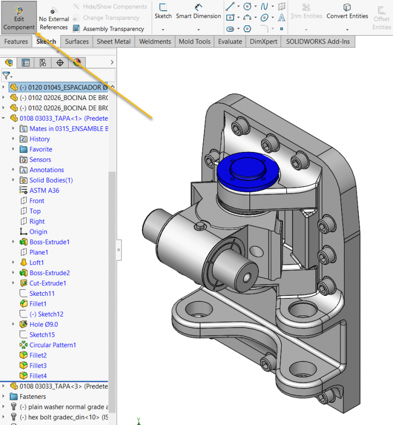 SOLIDWORKS Editing Component