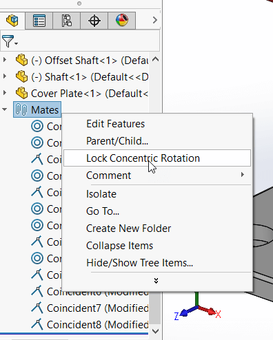 SOLIDWORKS Lock All Concentric Mates