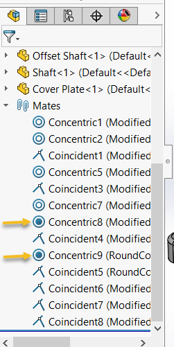 SOLIDWORKS Locks only Free Concentric Mates