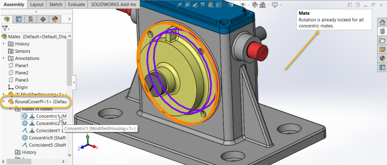 SOLIDWORKS Concentric Mate Rotation is Already Locked
