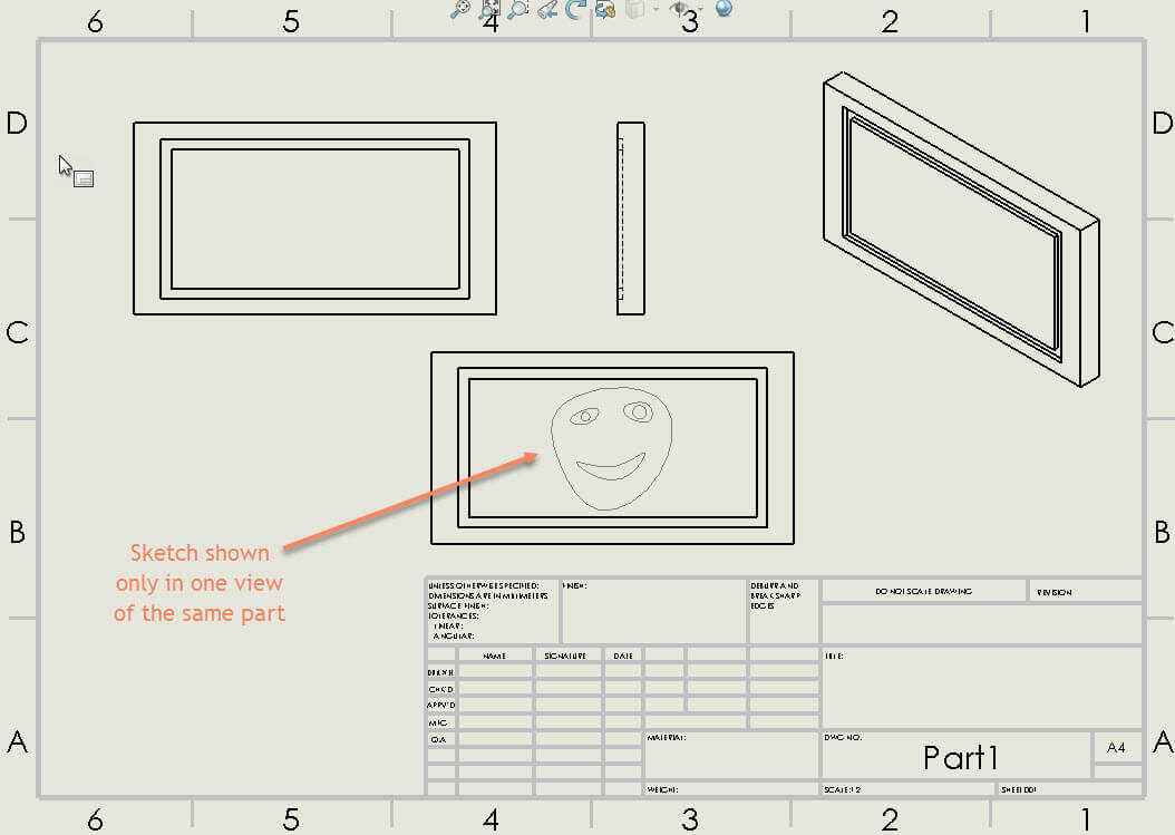Show Solidworks Sketch In A Specific Drawing View
