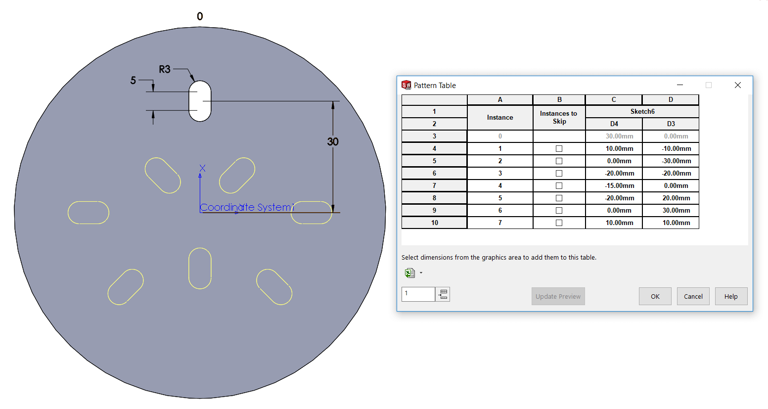 SOLIDWORKS Sketch Patterns