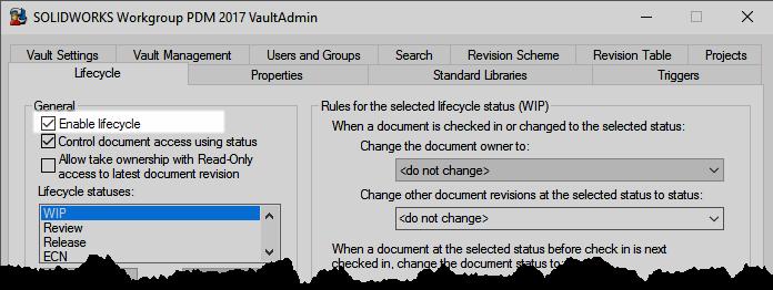 SOLIDWORKS Workgroup PDM Vault Admin