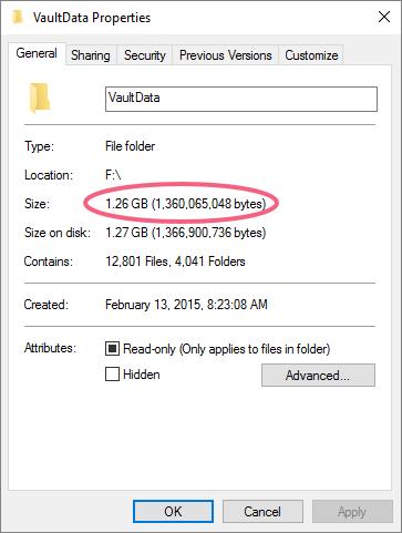 Vault Folder Properties
