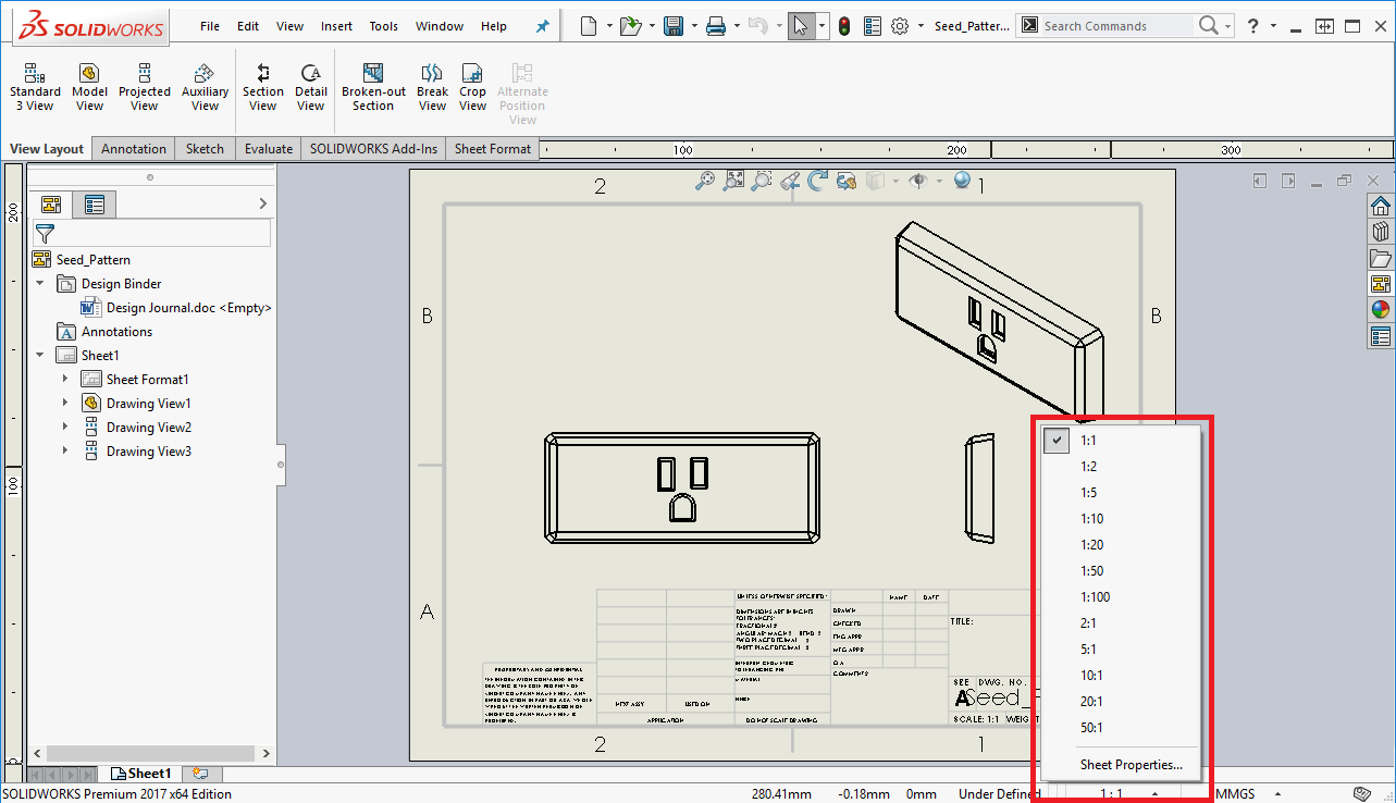 A quick and easy method to change the solidworks drawing scale for Blueprint scale