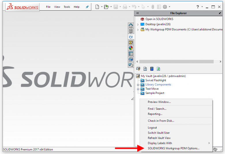 SOLIDWORKS Workgroup PDM Options
