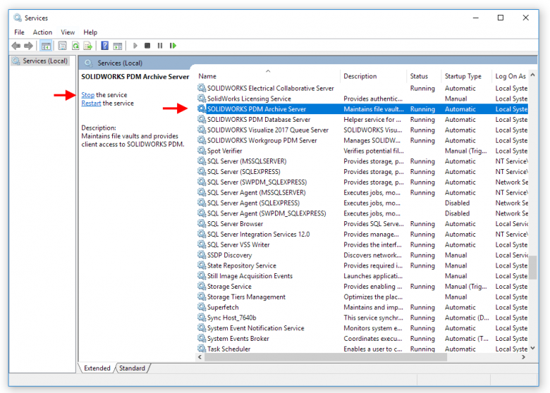 Stop SOLIDWORKS PDM Archive Server