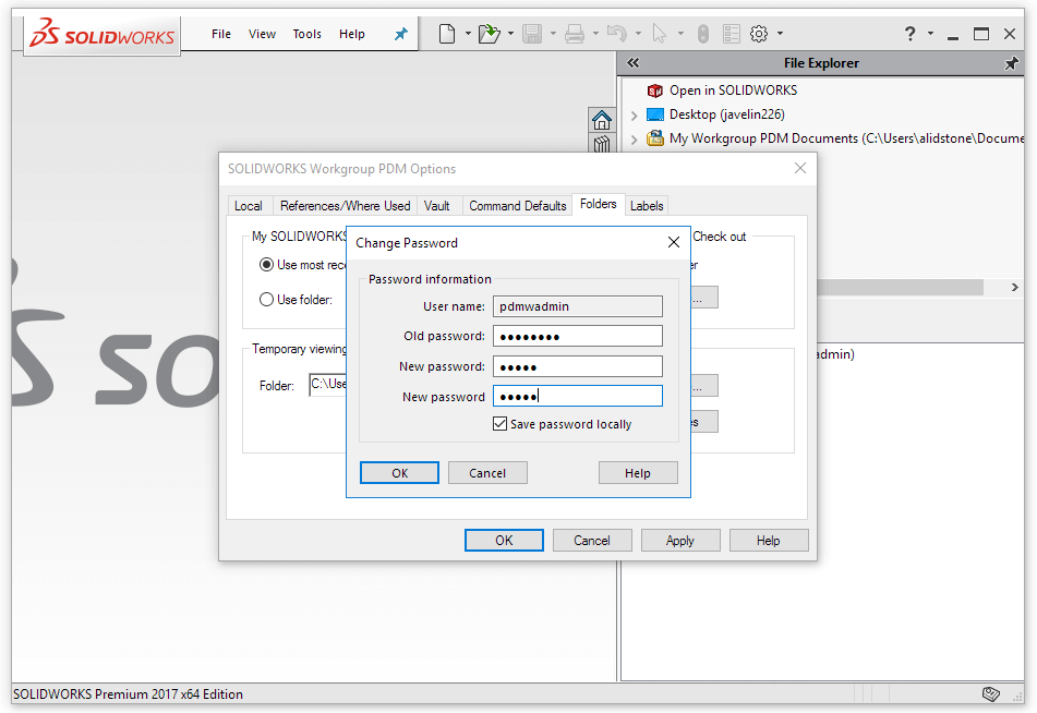 SOLIDWORKS Workgroup PDM user password
