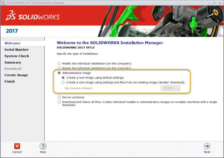 SOLIDWORKS Administrative Image