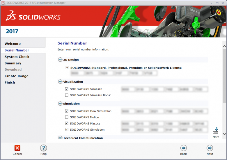 SOLIDWORKS Administrative Image Serial Numbers