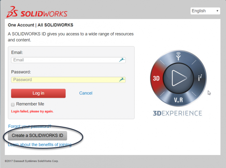 Create SOLIDWORKS ID