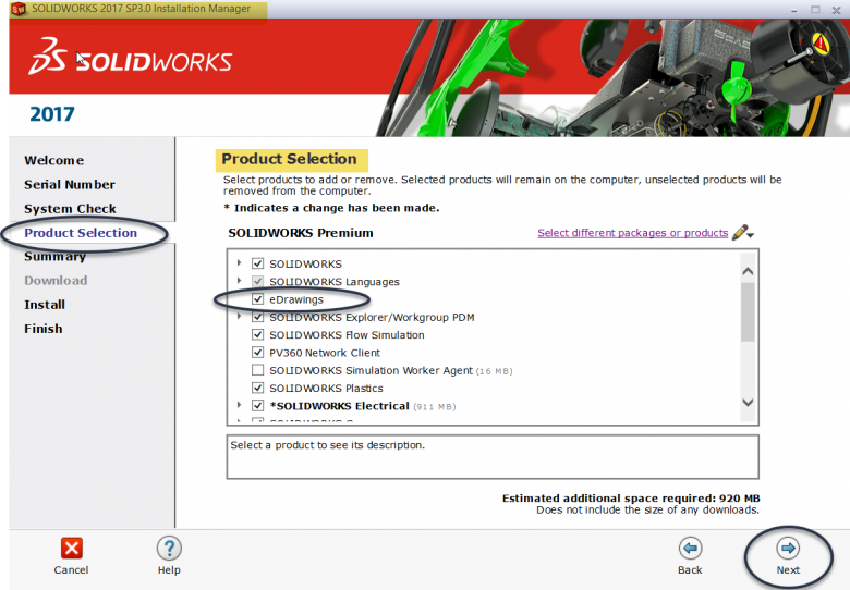 Install eDrawings Product Selection
