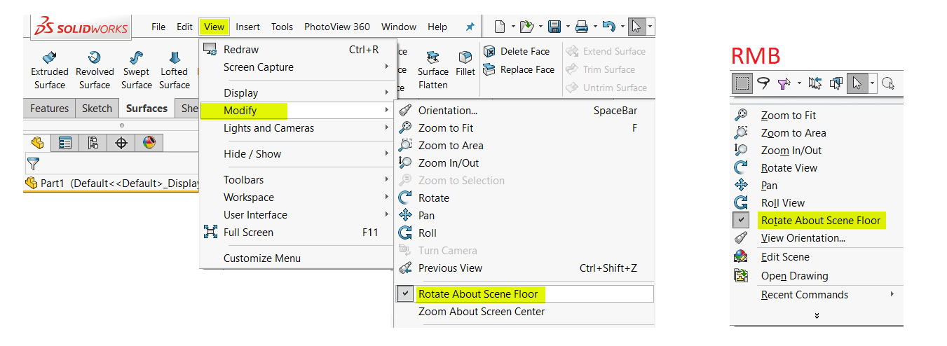 Rotate About Scene Floor option