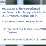 Experiencing problems when you load the SOLIDWORKS Toolbox add-in?