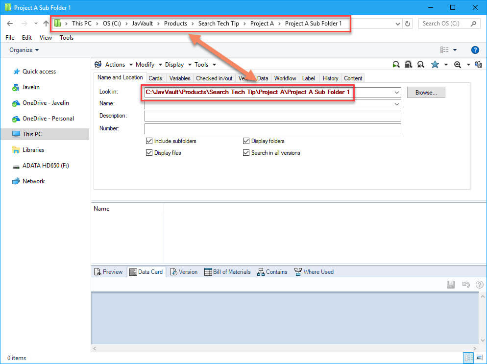 SOLIDWORKS PDM - Setting the default search path to the root folder