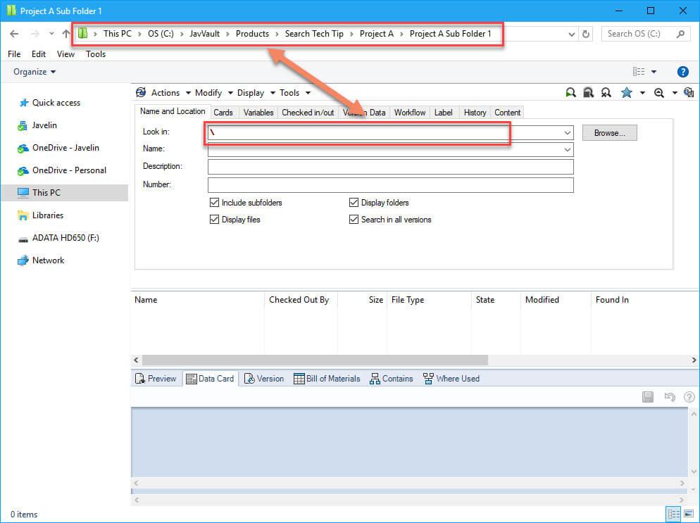 SOLIDWORKS PDM default search path