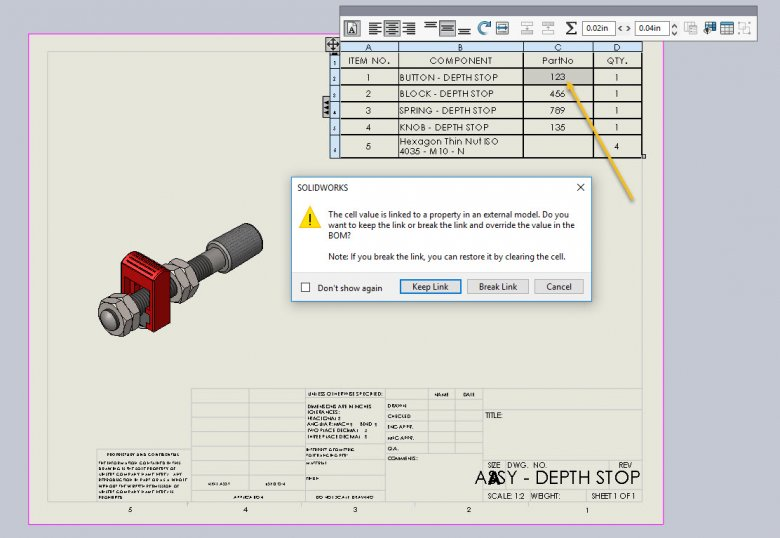 SOLIDWORKS BOM Cell