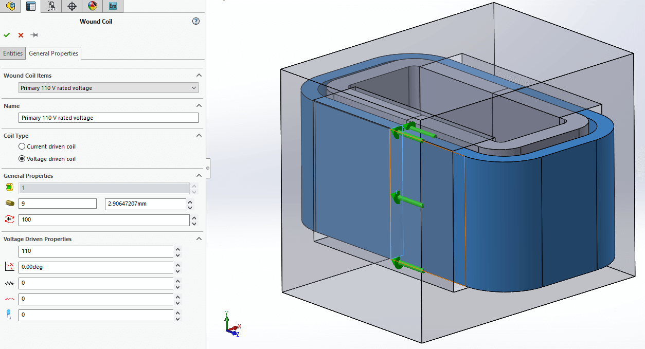 Open Short Circuit Transformer Simulation Tests Inside Solidworks Testing Of Transformers Simulations In Ems Each Test Is Performed As A Separate Study Coil Definition