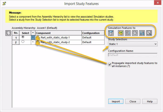 SOLIDWORKS Simulation 2018 Import Study Features Options