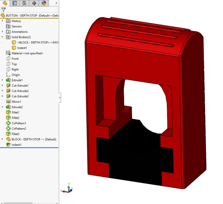 SOLIDWORKS Indent Cut feature