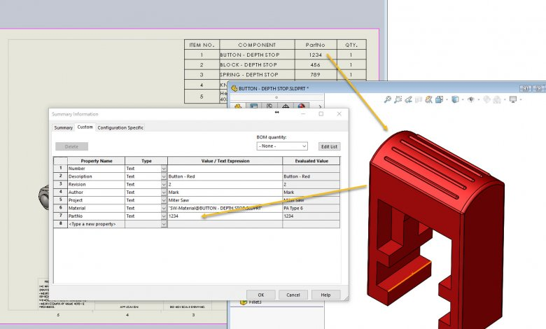 SOLIDWORKS Bill of Materials Keep Link for Cells