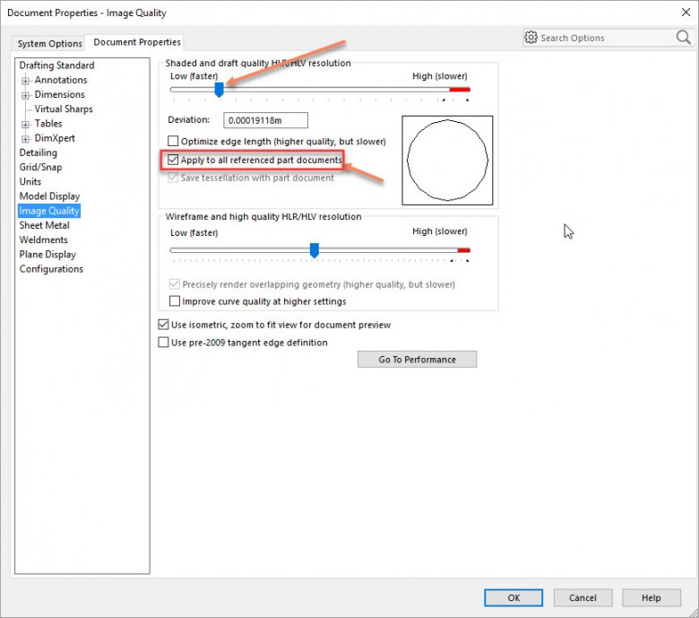 SOLIDWORKS Image Quality Settings