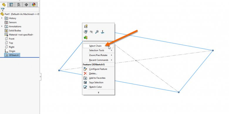 SOLIDWORKS Weldment Structural Member Chain Selection