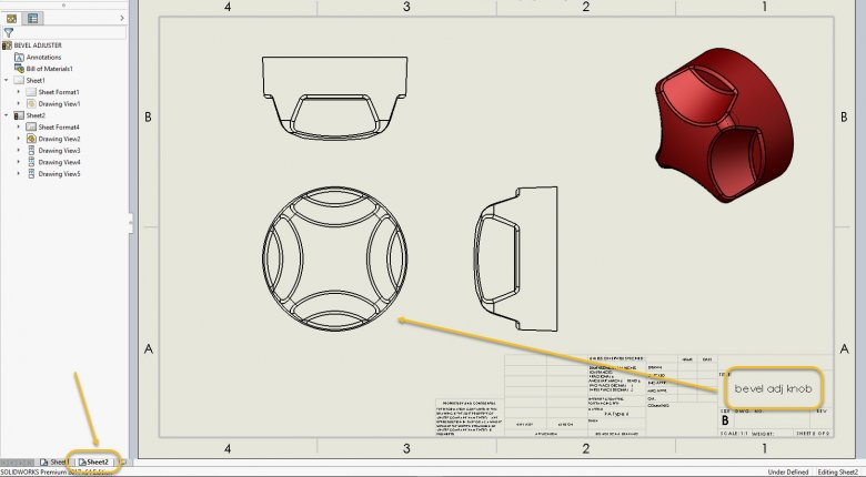 SOLIDWORKS Drawing Properties on Sheet2