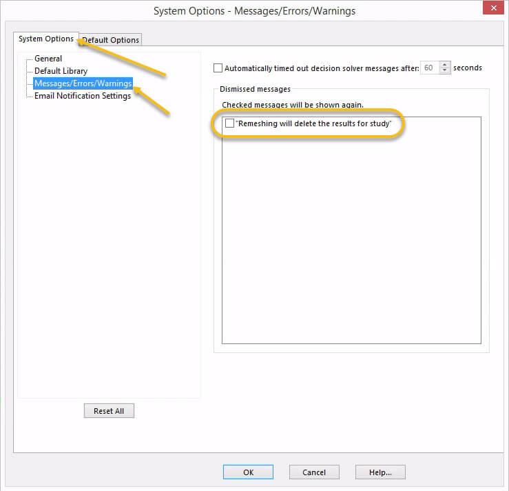 SOLIDWORKS Simulation 2018 Undo Dismissed Messages