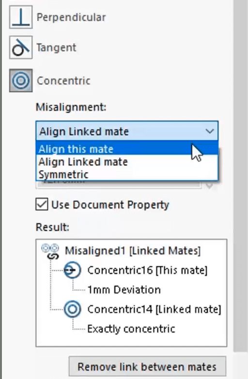 SOLIDWORKS Concentric Mate Misalignment Option