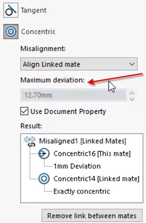 Misalignment Maximum deviation value