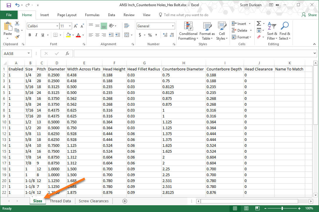 SOLIDWORKS 2018 Import and Export Hole Wizard Data with Excel