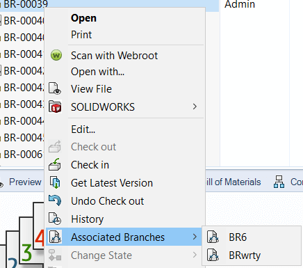 Selecting Associated Branches