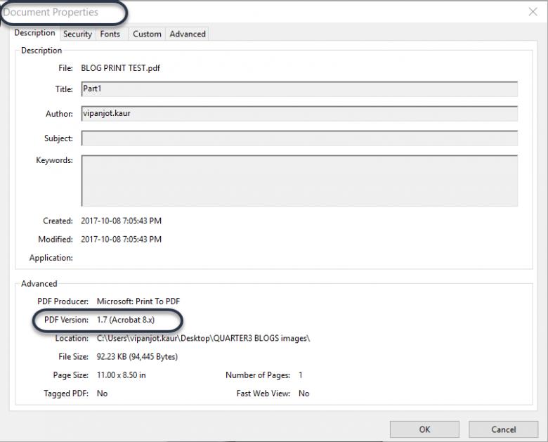 Acrobat version and PDF version