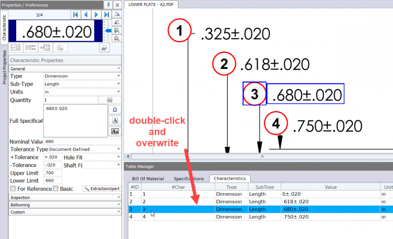 Double-click & overwrite