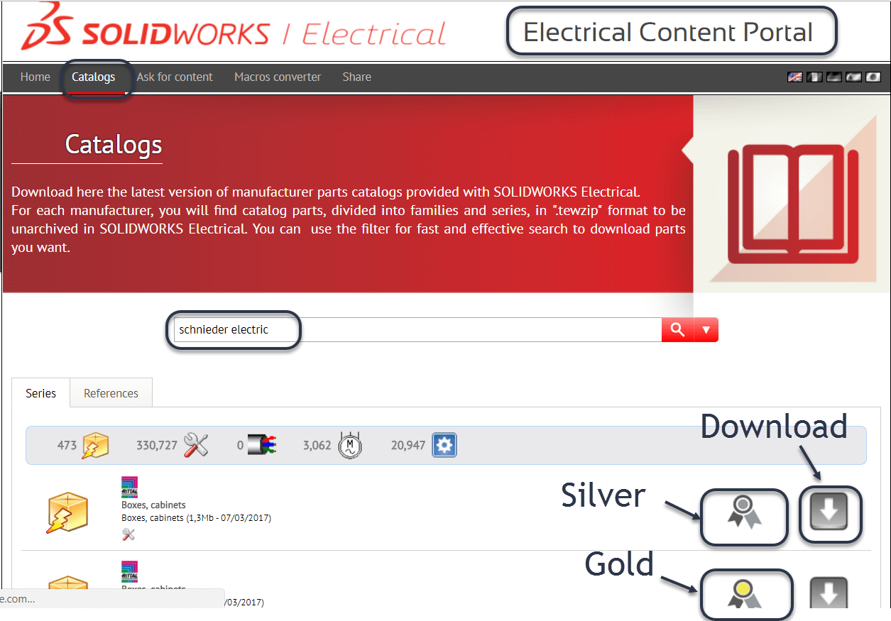 Get access to Gold libraries in the SOLIDWORKS Electrical Content Portal