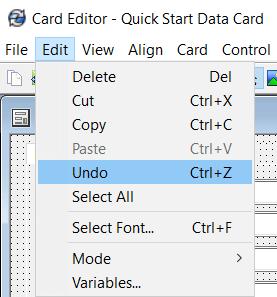 Edit > Undo