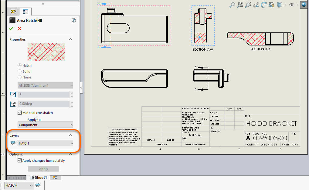 SOLIDWORKS 2018 Drawing Area Hatch PropertyManager