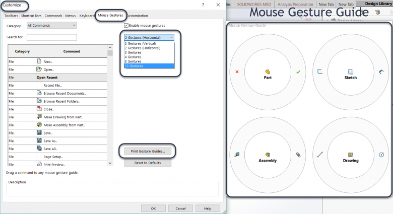 SOLIDWORKS 2018 Mouse Gesture customization Dialog box