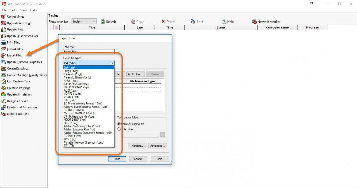 SOLIDWORKS Task Scheduler 2018 Export File Types