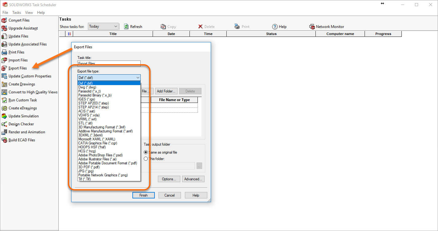 SOLIDWORKS 2018 Task Scheduler Adds Import/Export File Types