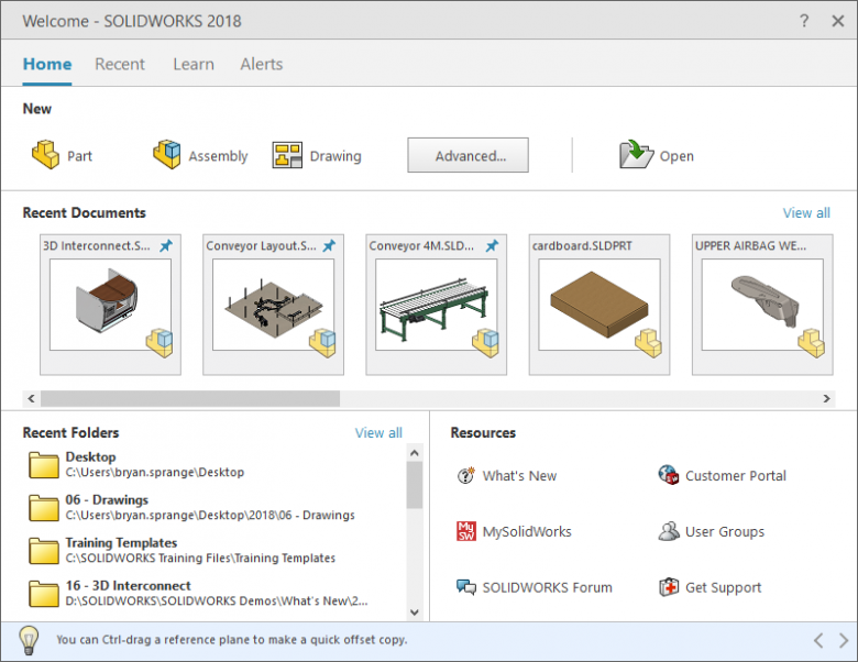 The new SOLIDWORKS Welcome Screen is a great hub of information