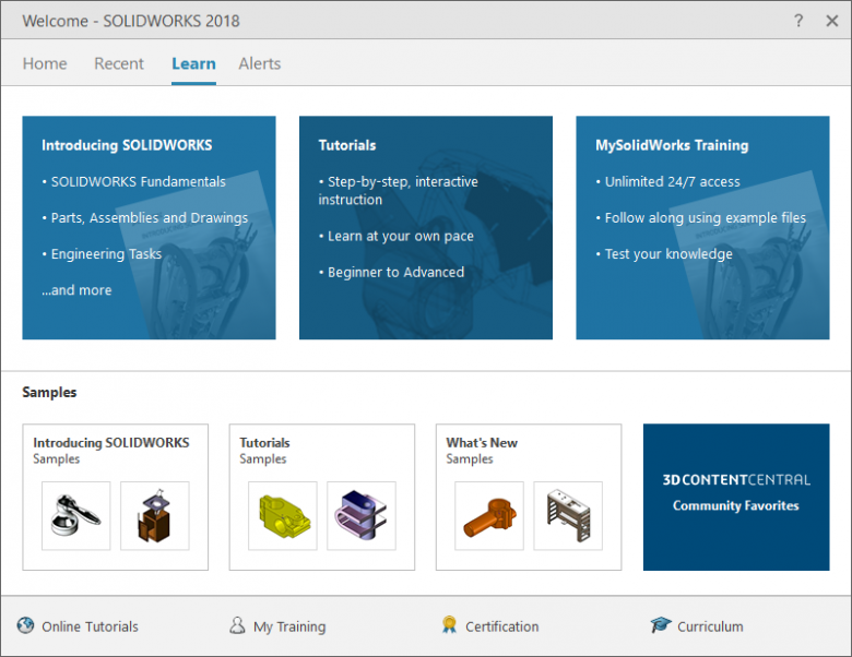 The bottom ribbon has links to great SOLIDWORKS resources from Certifications to course content.