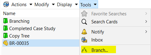 Selecting Branch from the Tools Pull-down of the Local Vault View