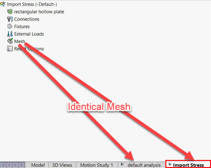 The current mesh of the active study and the mesh from which the imported results are derived must be identical