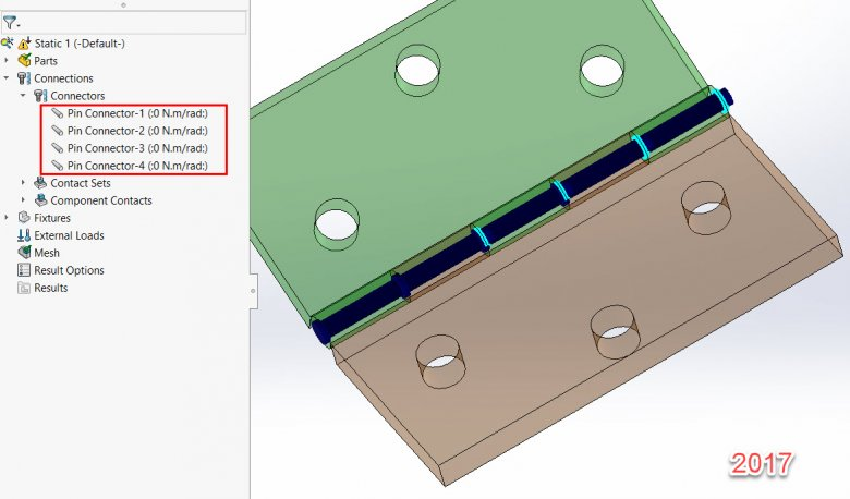 SOLIDWORKS Simulation 2017 Pin Connector