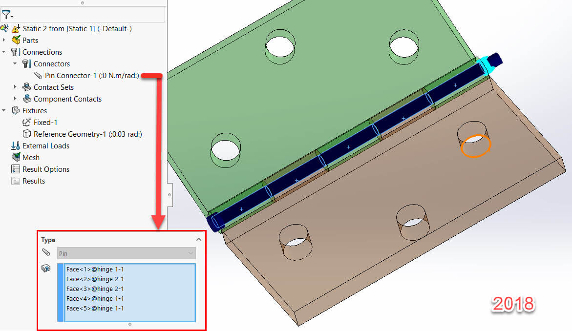 SOLIDWORKS Simulation 2018 Pin Connector